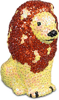 Figure of styrofoam tinker with sequins