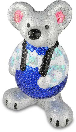 Styrofoam figure tinker with sequins