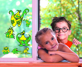 Dekorationsbeispiel Marabu Window-Color-Set fun & fancy Monster-World