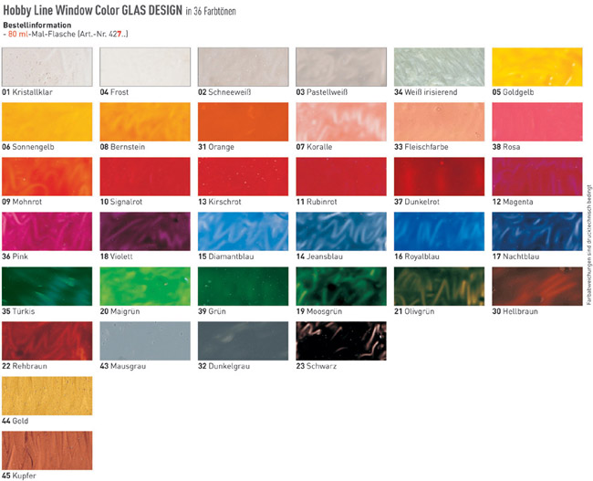 Farbkarte Hobby Line GLAS DESIGN Window Color Farben