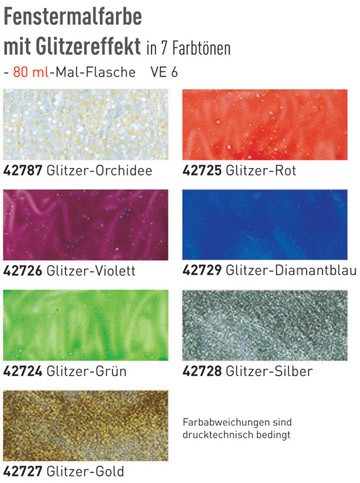 Farbkarte Hobby Line GLAS DESIGN Window Color Glitzer-Farben