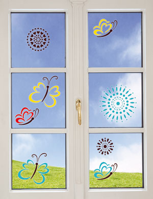 Fenster dekoriert mit Motiven Window Style Set Osterwelt