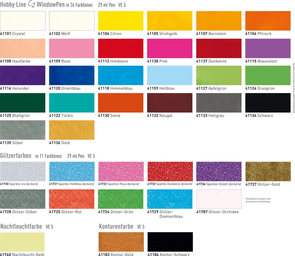 Blau Farbkarte: C2 Window Color Pen 29 Ml