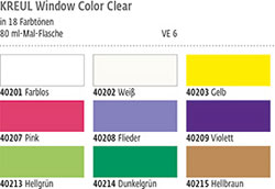 Farbkarte KREUL Window Color Farbe Clear