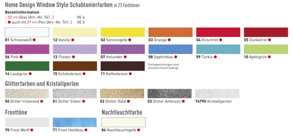 Farbkarte Window Style Glasmalfarbe, Window Color