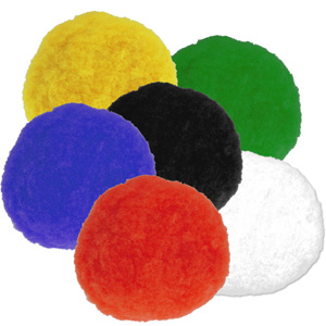 15 Pompoms im Set in 6 Farben je 30 mm, Pom Pom Sortiment