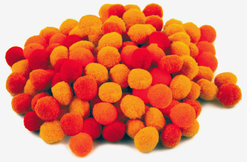 120 Pompoms im Set, Pom Pom Sortiment Orange-Töne