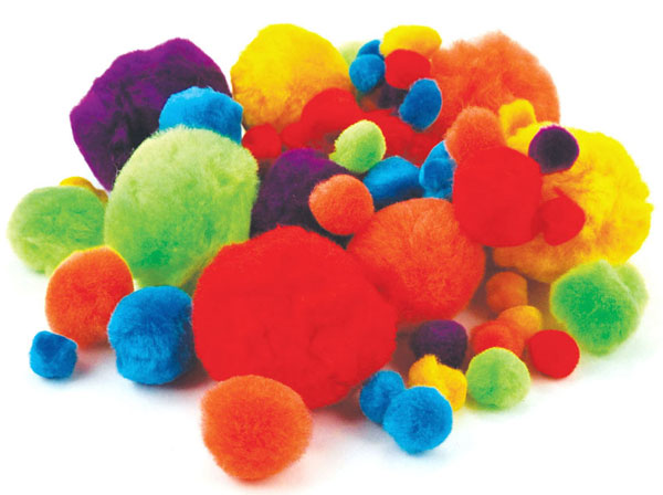 60 Pompoms im Set, Pom Pom Sortiment