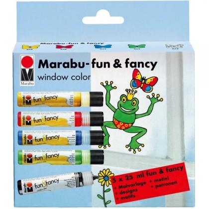 window color set marabu fun fancy 5 x 25 ml prima basteln. Black Bedroom Furniture Sets. Home Design Ideas