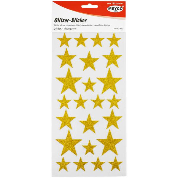 Glitzer-Sticker Sterne Gold, 24 Stück