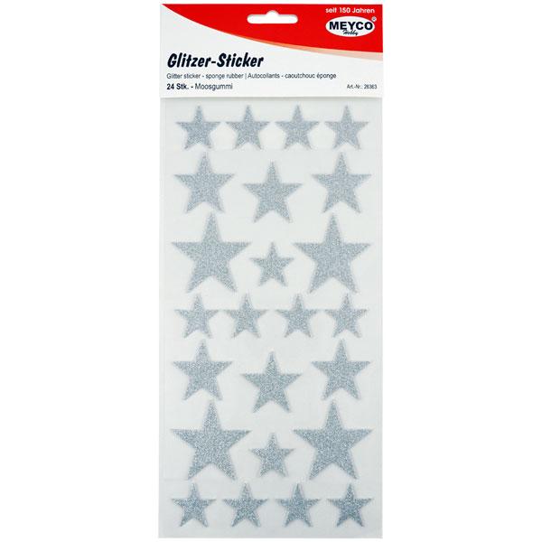 Glitzer-Sticker Sterne Silber, 24 Stück