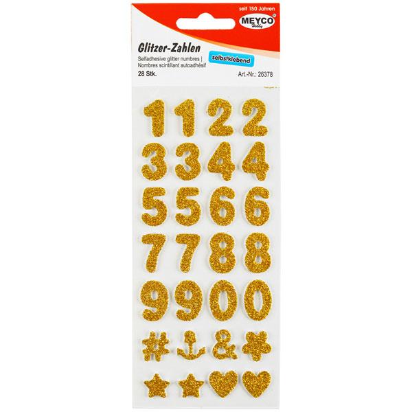 Glitzer-Zahlen Gold, 28 Stück