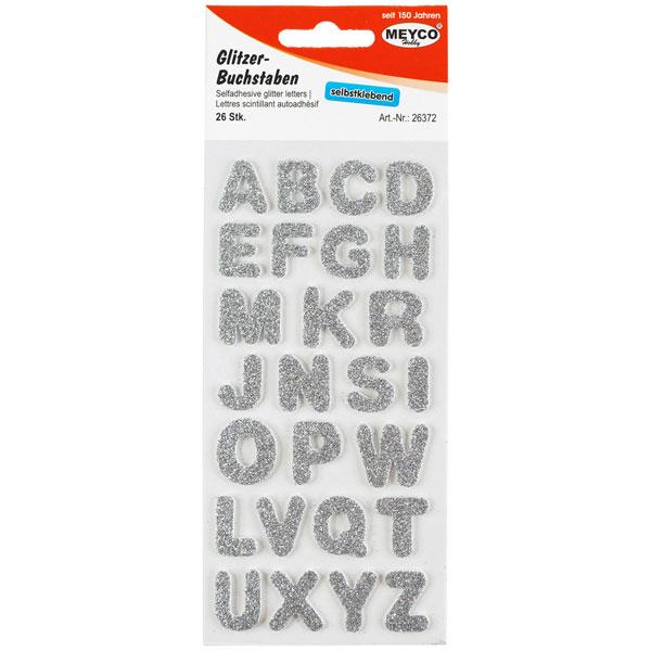 Buchstaben-Sticker Glitter-Silber, 26 Stück