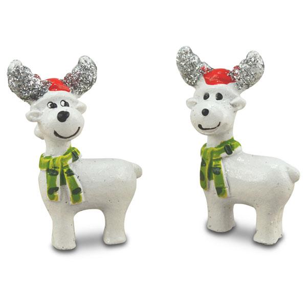 Deko-Figuren Rentier mit Weihnachtsmütze