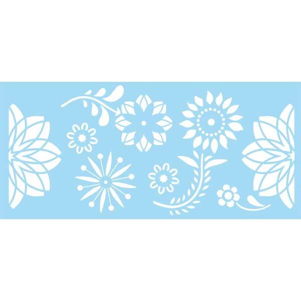 "Marabu Glas-Tattoo Schablone ""Happy Flowers"""