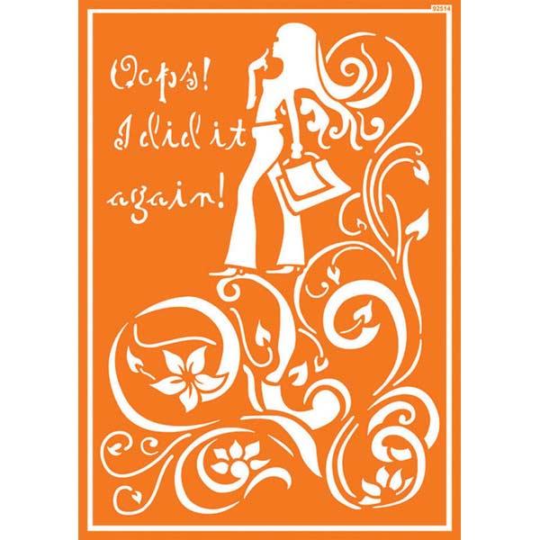 JAVANA Textil-Schablone Shopping Girl