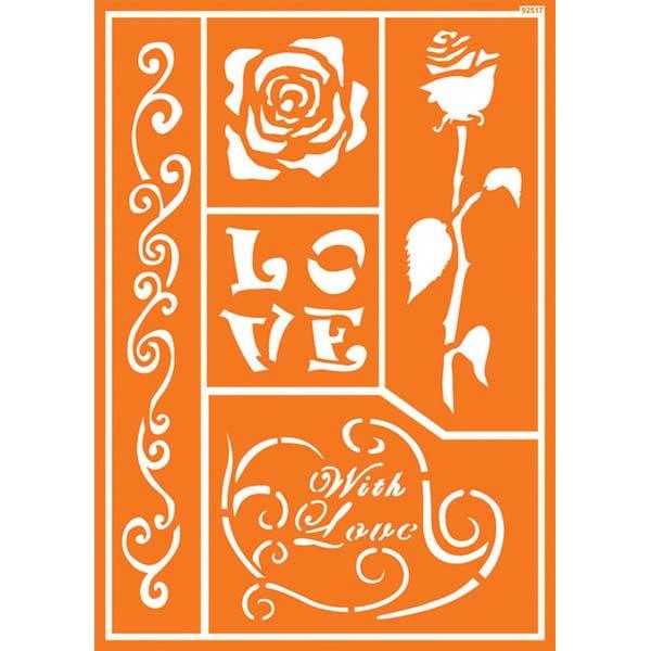 JAVANA Textil-Schablone Romantic Rose