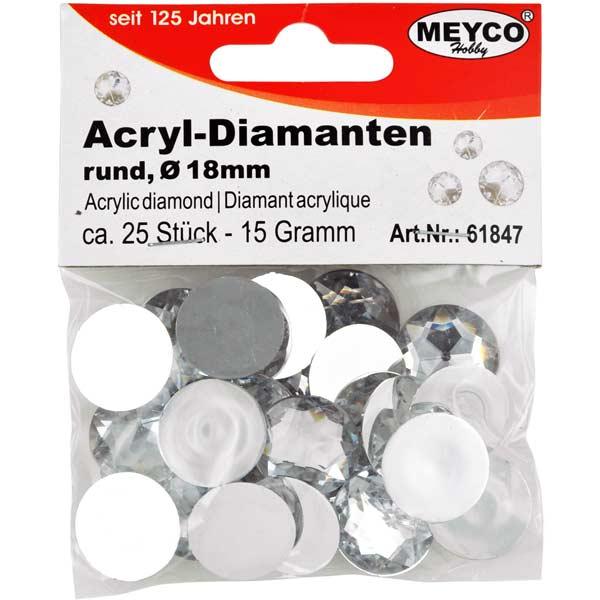 Acryl-Diamanten rund, 18 mm