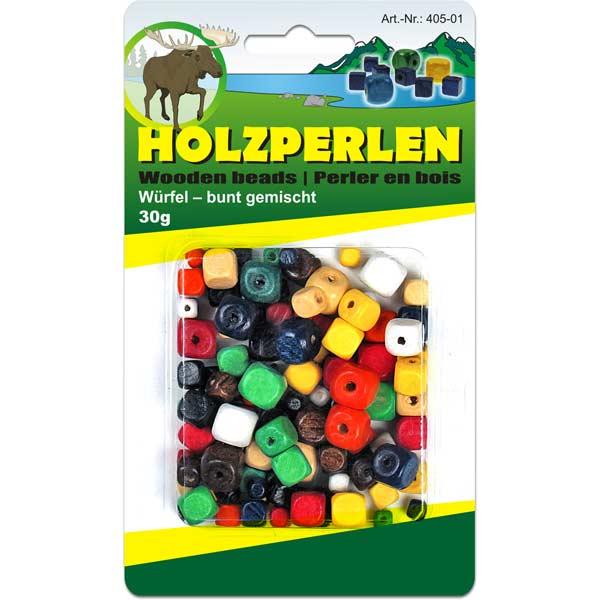 Holzperlen-Set, Würfel-Perlen