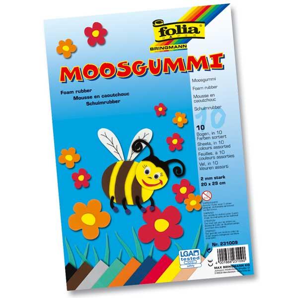 Moosgummi-Set, 10 Bogen 20 x 29 cm