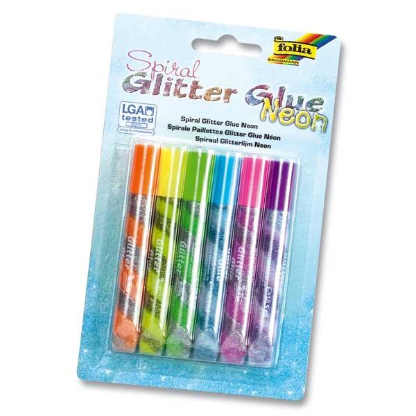 """Spiral Glitter-Glue Stifte """"Neon"""", 6er Pack"""