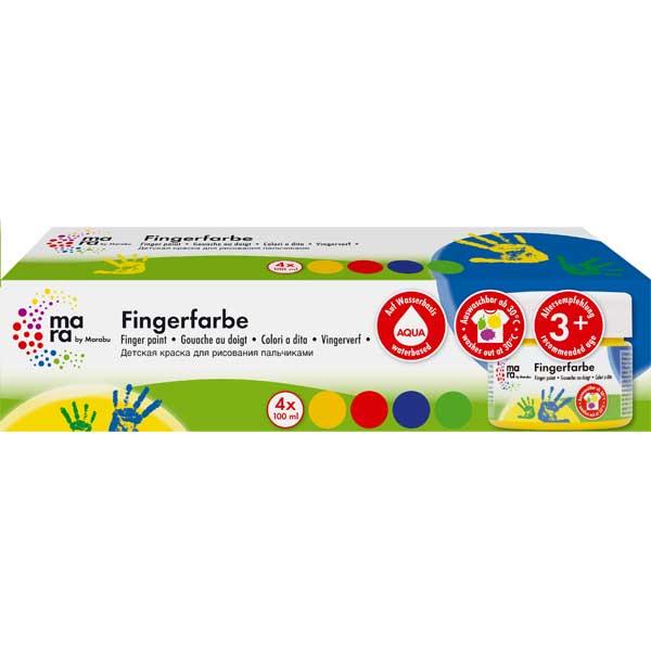 mara Fingerfarben-Set, 4 Farben je 100 ml