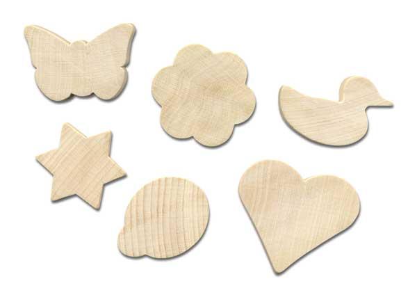 Holz-Magnete, 12 Stück sortiert