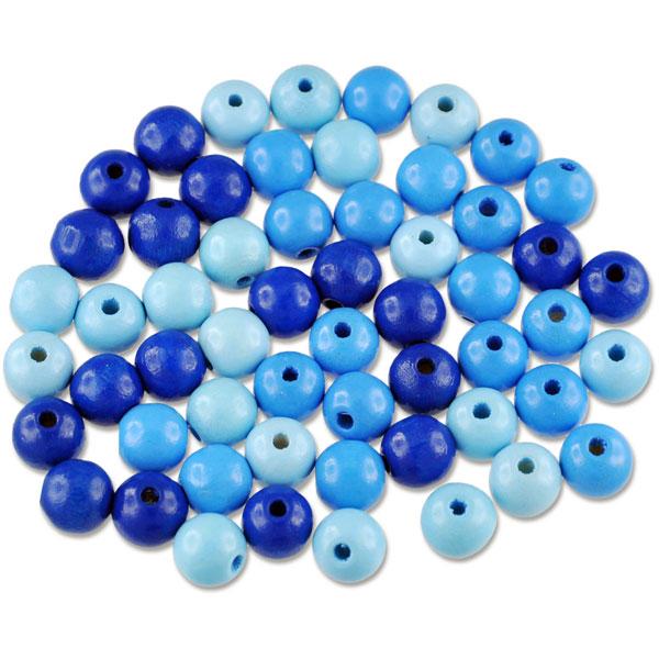 """Holzperlen-Farbmix """"Blautöne"""", 10 mm, 56 Stück"""