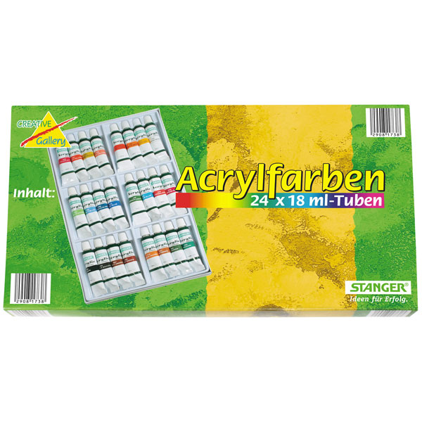 Künstler-Acrylfarben-Set, 24 x 18 ml Tuben