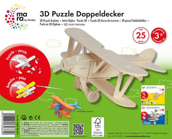 """3D Holz-Puzzle """"Doppeldecker"""""""