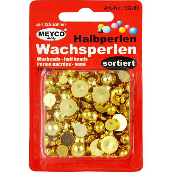 Wachsperlen Halbperlen Gold, 10 Gramm