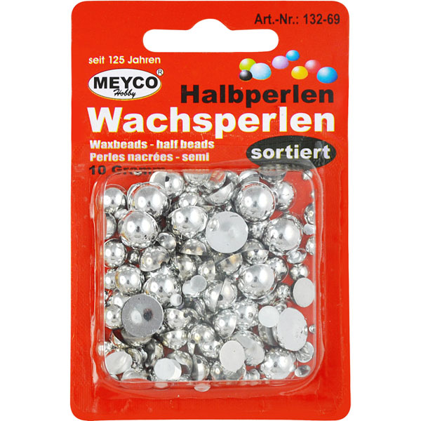 Wachsperlen Halbperlen Silber, 10 Gramm