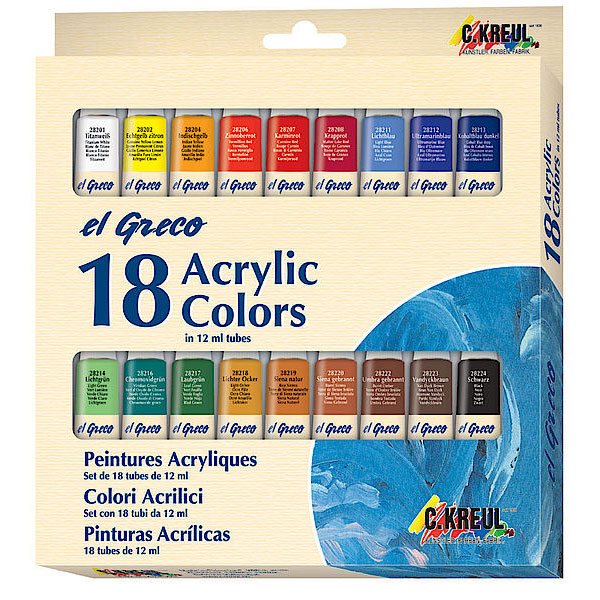 Acrylfarben-Set, 18 x 12 ml Tuben