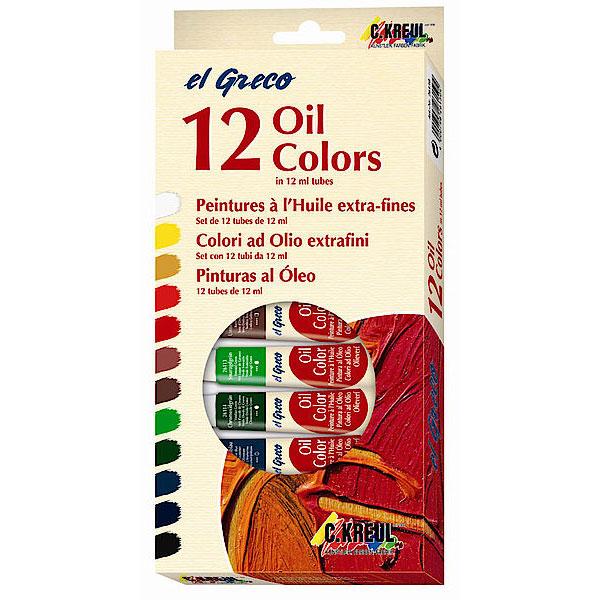 Ölfarben-Set, 12 x 12 ml Tuben