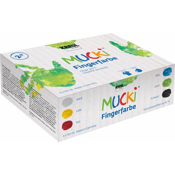 MUCKI Fingerfarben-Set, 6 Farben je 150 ml