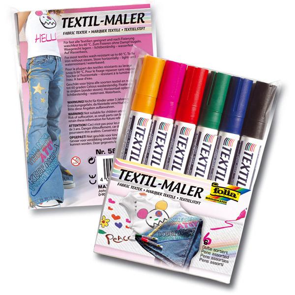 Textil-Maler, 6 Farben im Set