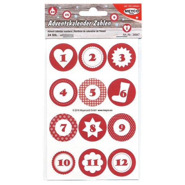 Zahlen-Sticker Adventskalender, 3 cm rund