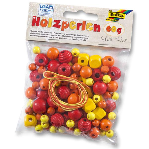 """Holzperlen-Set """"Gelb-Rot"""""""