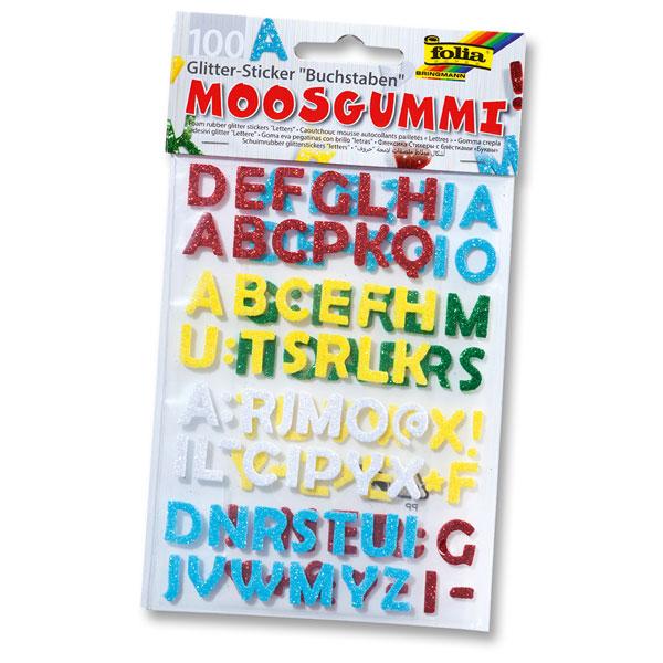 Moosgummi Glitter-Sticker Buchstaben, 100 Stück