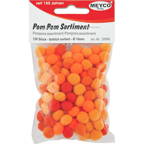 Pom Pom Sortiment Orange-Töne sortiert 10mm, 120 Stück