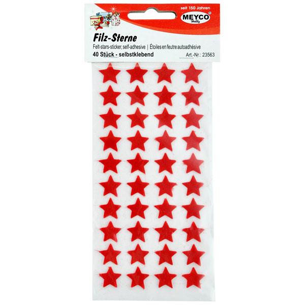 Filz-Sterne selbstklebend, 40 Stück