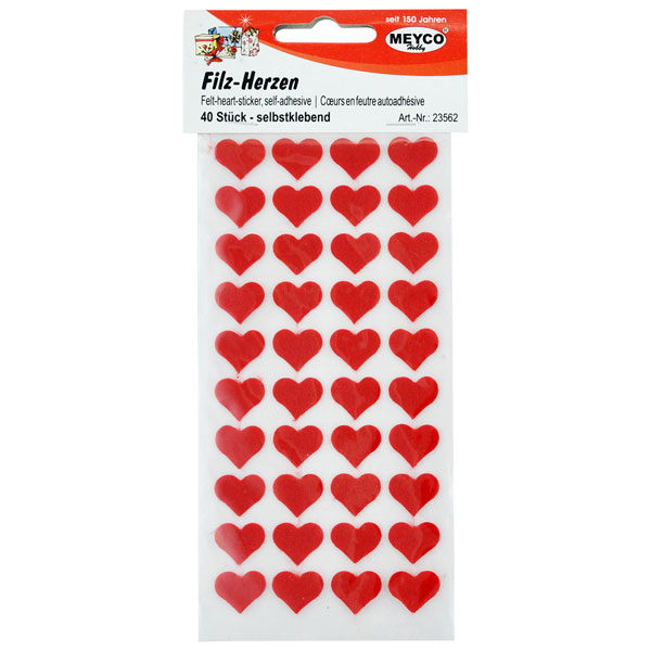 Filz-Herzen selbstklebend, 40 Stück