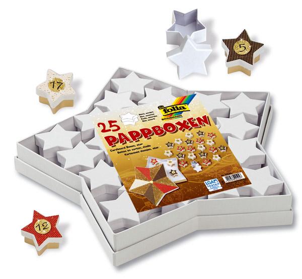Pappschachteln Sterne, 25-teiliges Set