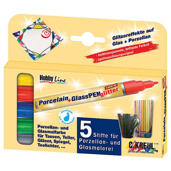 Hobby Line Porzellanstift, Glasmalstift Glitter 5er-Set