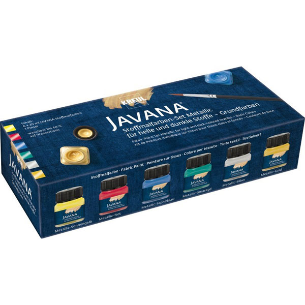 KREUL Javana Stoffmalfarbe Metallic 20 ml, 6er-Set