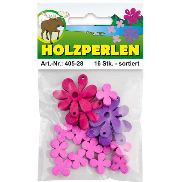 Holz-Blüten flach, 16 Stück sortiert