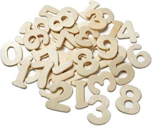 Holz-Zahlen natur, 40 Stück