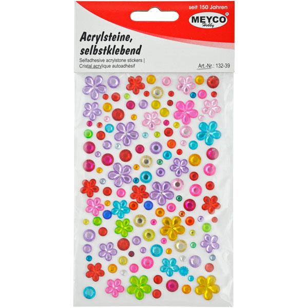 Acryl-Steine Blumen und Punkte, selbstklebend