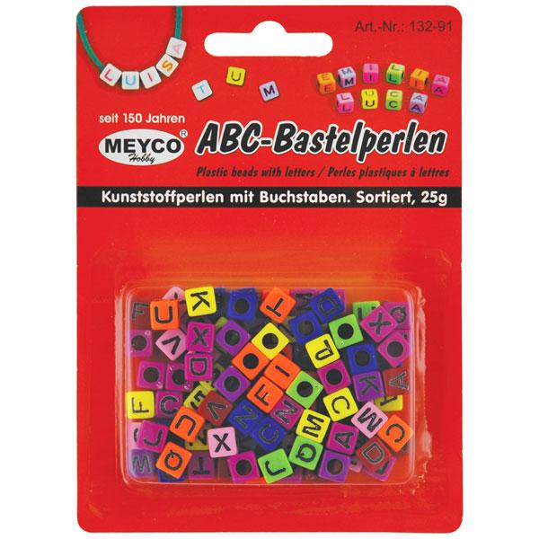 ABC-Bastelperlen bunt, schwarz bedruckt