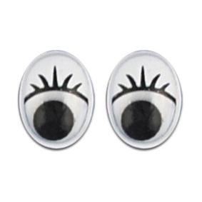 Wackelaugen mit Wimpern oval, 8 mm, 10 Stück